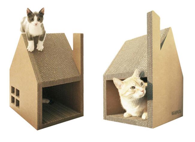 Una casa de cart n para tu gato - Casa para gato ...