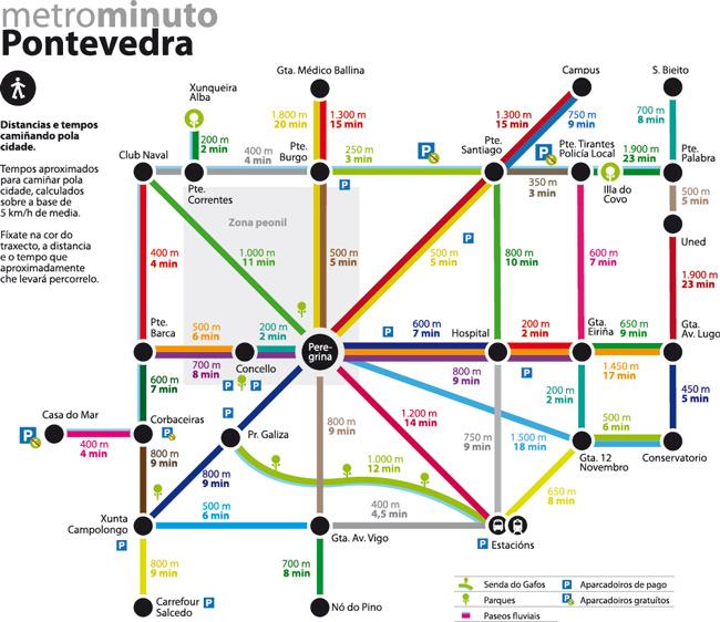 Mapa De Pontevedra Ciudad.Un Plano De La Ciudad De Pontevedra Para Caminantes