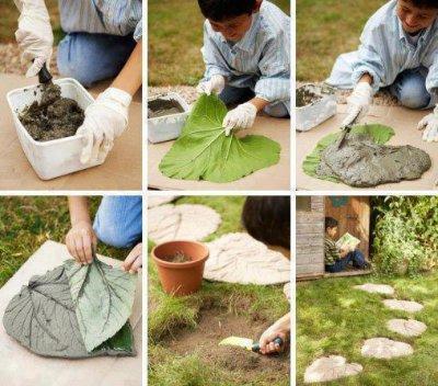 Baldosas de cemento con forma de hoja for Baldosas de jardin