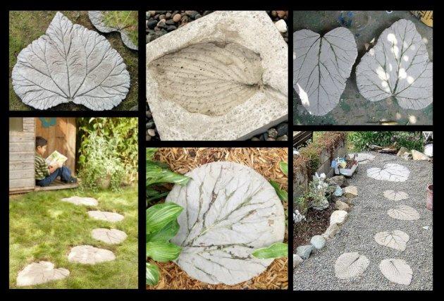 Baldosas de cemento con forma de hoja for Camino hormigon