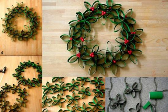 Coronas de navidad originales para nuestras puertas - Adornos navidenos con rollos de papel higienico ...