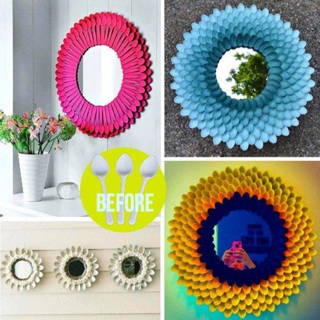 Espejo con cucharillas de pl stico recicladas - Espejo de plastico ...
