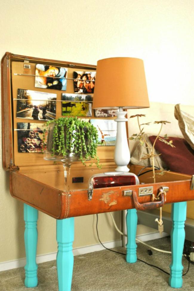 Una mesa y un sill n hechos a partir de una vieja maleta for Como reciclar una mesa de tv vieja