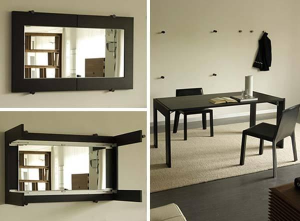 Un espejo que se puede convertir en mesa de comedor for Espejos horizontales para comedor