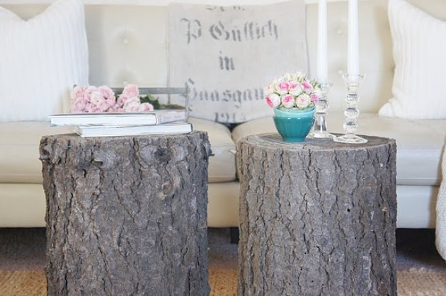 Mesas de t con trozos de troncos de rbol for Mesa de tronco