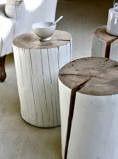 Mesas de té con trozos de troncos de árbol