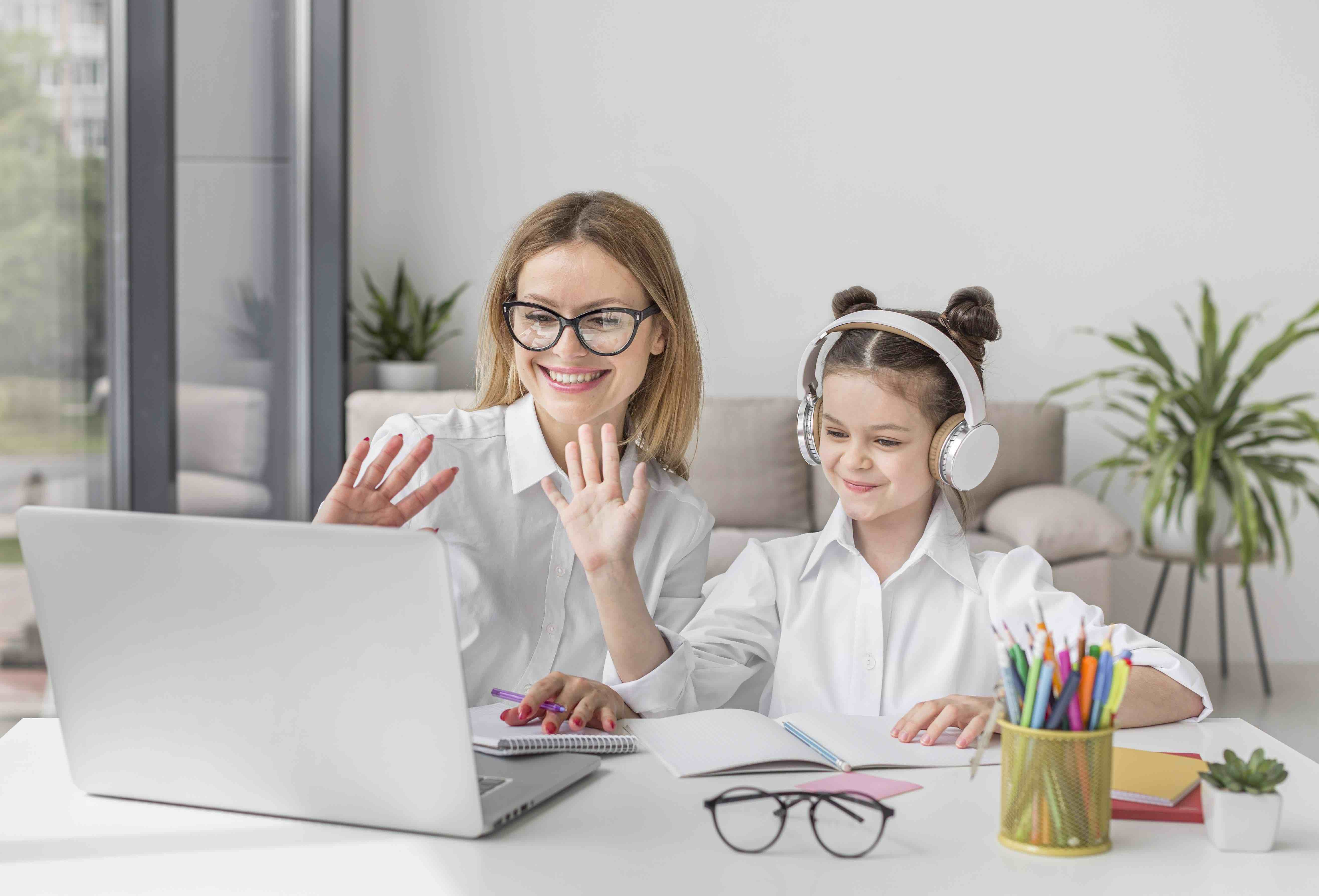 mother-and-daughter-participating-at-an-online-class