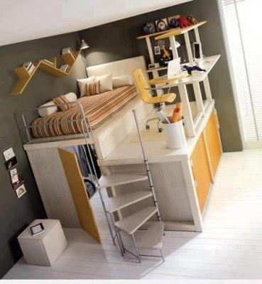 Un mueble cama mesa de estudio y armario - Cama armario debajo ...
