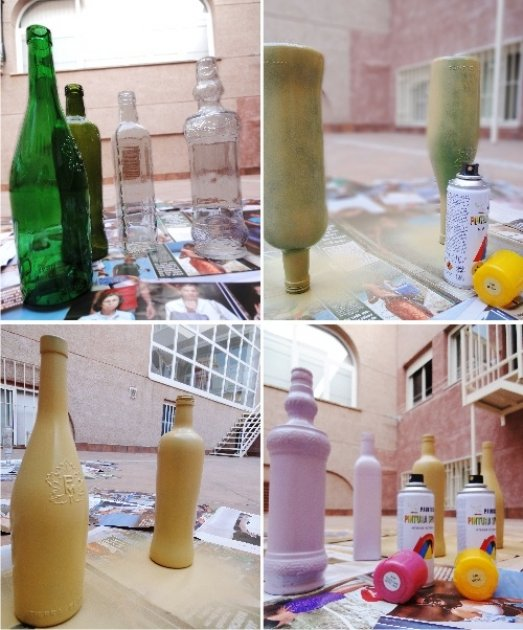 Cmo pintar botellas de cristal o plstico - Como pintar botellas de plastico ...