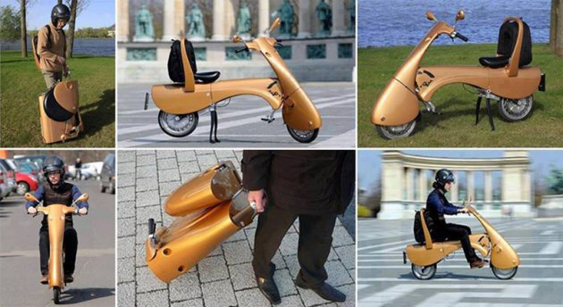 Baño Portatil Pequeno:Un pequeño y portátil scooter