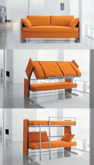 Sofa bunk bed unit convert with one simple movement into two everyday beds with wooden slatted base