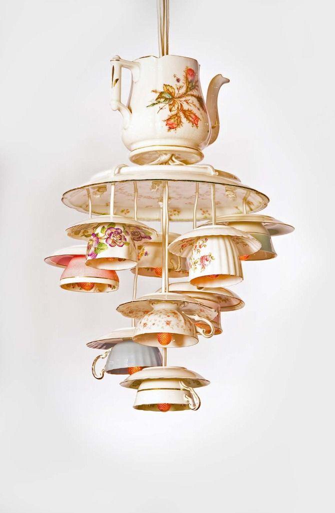 C mo hacer l mparas originales con tazas de caf - Lamparas para cafeteria ...